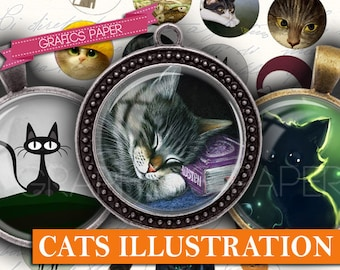 "Illustrations of cats and kittens Digital collage sheet - td84 - 1.5"", 1.25"", 30mm, 1 inch circles magnet, Images for pendant, cabochon"