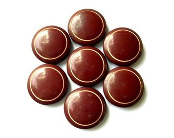 6 Vintage buttons plastic 17mm red brown with white circle