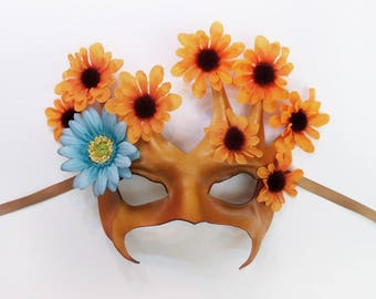 Flowering Tree Leather Mask with Fabric Flowers brown with  orange and blue flowers Very lightweight and easy to wear