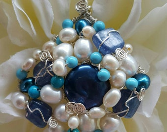 PENDANT Turquoise Kyanite Pearl Wire wrapped Sterling Silver Diamond Pendant