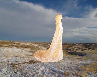 Ivory Wedding Cloak with Train - Medieval Wedding - Renaissance Festival - Costume - Cape - Velvet