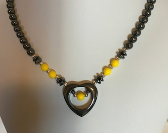 Handmade Hematite Open Heart Necklace with Yellow Accents