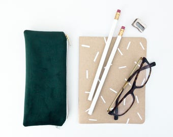 """GREEN VELVET POUCH / clutch bag, make-up bag, pencil case / cotton black and white / 3.5""""x8"""" / gold zip / la petite boite / made in quebec"""