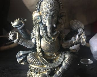 GANESHA Ganesh Statue gold wash altar figure statuette