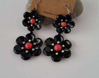 Floral Earrings, Black Floral Earrings,Black Dangling Earrings