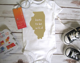 illinois baby clothing, illinois baby gift, chicago Onesie®, illinois love, illinois shower gift, neutral, cute baby gift,