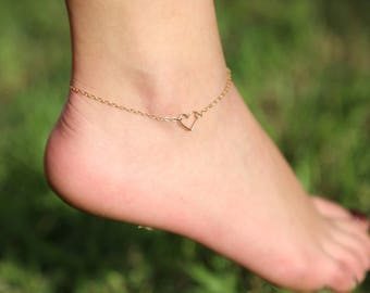 Heart Anklet, Gold, Rose Gold, Sterling Silver, Delicate Gold Anklet, Gold Filled Heart Anklet, Heart Ankle Bracelet, Gold Foot Jewelry.