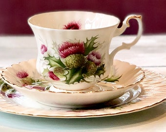Vintage Royal Albert Tea Cup Trio, Thistle Cup and Saucer, Bridal Shower Tea, Luncheon, Royal Albert China