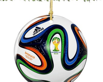 World Cup Christmas Ornament, Brazil World Cup Ornaments, Porcelain