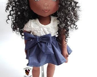 18 inch African American Cloth Doll - Handmade doll - cloth doll - amigurimi doll - fabric doll