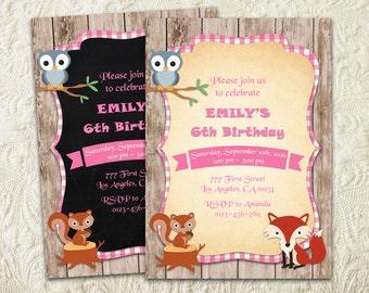 Girl Woodland Birthday Invitation, Woodland Animals Invitation, Forest Birthday Invitation, Forest Critters Fall Rustic Wood Fox Invite