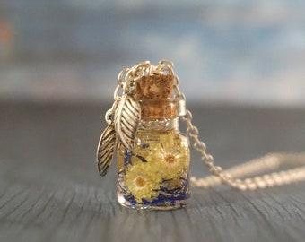 Glass vial necklace gift for girlfriend miniature bottle pendant perfume bottle necklace silver leaf necklace terrarium necklace nature gift