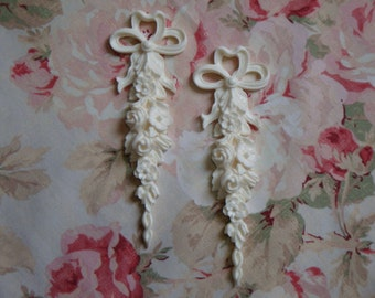 New! Large Rose Floral Drops Pair Architectural Furniture Applique Only Pediment