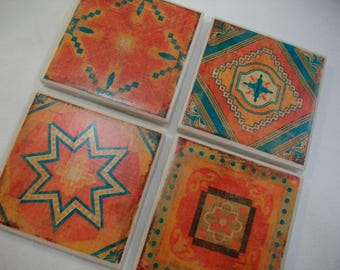 Moroccan Tile Coasters / Orange and Turquoise Moroccan Mosaic Vintage Style Set of 4