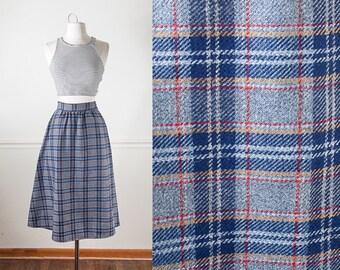Vintage 70s Skirt, Plaid Skirt, Wool Skirt, High Waist Skirt, 80s Skirt, Mustard Yellow Skirt, Modest Skirt, Knee Length Skirt, Gray Skirt