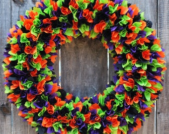 Halloween Wreath, Rag Wreath, Halloween Decor, Fall Wreath, Fall Door Decor, Holiday Decor, Holiday Wreath, Halloween Party, Autumn Wreath