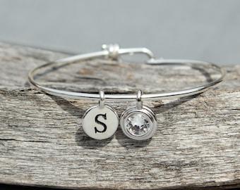 Personalized Mothers Bracelet, New Grandma Gift, Mothers Day Personalized Initial Bracelet, Grandmother Gift, April Birthstone Jewelry