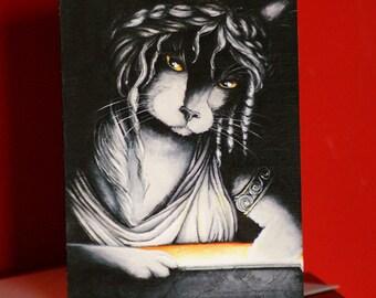 Pandora Cat Card, Greek Mythology Cat Art, 5x7 Blank Greeting Card