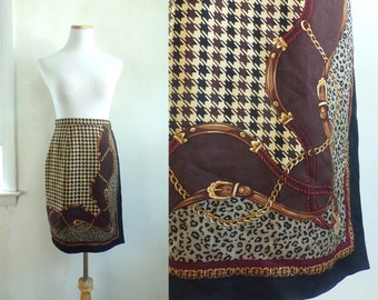 "vintage silk wrap skirt 90s houndstooth equestrian animal chain print talbots mini skirt size XS 25"" waist"