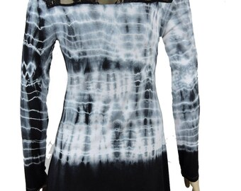 Black White Hand Tie Dye Women Shark Bite Lace Shirt V-neck Long Sleeves by Sugar Rock