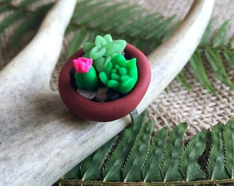 Succulent Ring Polymer Clay Miniature Terra Cotta Planter