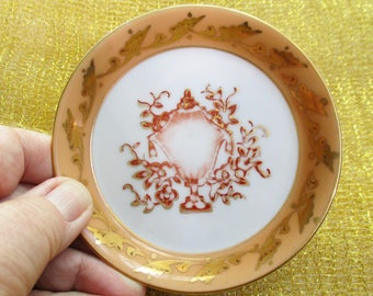 Trinket Dish Butter Pat Coaster Vintage Home Decor Gold Handpainted Guilded Classic Vase Motif Peach Vanity Trinket Soap Dish Bathroom Decor