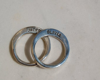 SPECIAL NAME RING Set  - Forged Silver Bands with Name - Great Stacking rings - Unisex Style Ring