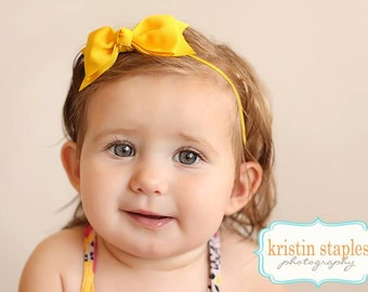 Boutique Yellow Tuxedo Bow Skinny Elastic Headband Infant Hair Bow Yellow Headband Yellow Baby Headband Yellow Infant Headband