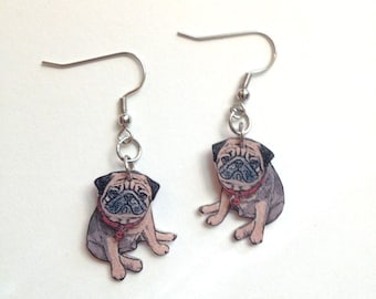 Handcrafted Plastic 3 Dimensional Fawn Tan Pug Dog Puppy Earrings Gifts for Her