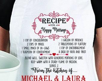 Personalized Happy Marriage Recipe Apron, Personalized Wedding Gift Apron, Personalized Apron