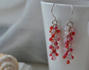 Shaggy Pink and White Glass Bead Earrings Handmade