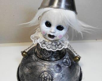 Lady Metal- art doll-strange doll-macabre-decoration-creepy-metal-chains-steampunk-gears-hat-OOAK