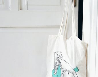 Ready to ship! / Screenprinted Canvas Tote Bag/ Knitting Project Tote Bag
