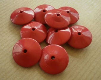 Set of 6 flat plastic, red color, 20 mm round beads