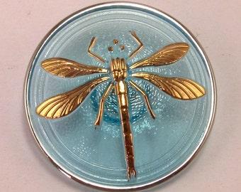 Czech Glass Button, Dragonfly, Aqua, Gold, 31mm, With Pendant Converter C172