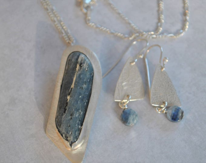 Blue Kyanite stone and sterling silver pendant necklace, blue gemstone necklace, matched set