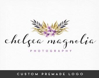 Premade Logo Design, Floral Logo, Gold Logo, Calligraphy Logo, Handwritten Logo, Photography Logo, Sub marks + Watermarks, Branding Kit