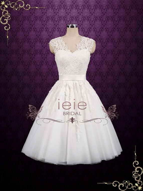 Vintage kurze Spitze Brautkleid Tee Länge Brautkleid Spitze