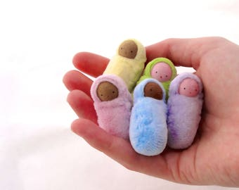 Peanut Baby  Pastel // miniature bunting doll // waldorf birthday party favor // Easter basket // ready to ship doll