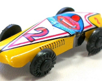 Yellow Tin Toy Racer, 1960s Japanese mini car no. 2. Vintage fun!