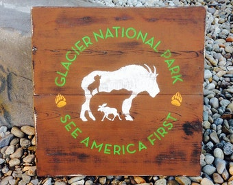 Rustic Glacier National Park Montana Hand Painted Sign wall artwork