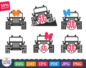 Jeep Svg Jeep Girl Svg Files Jeep Monogram Svg Car with Bow Svg Cuttable Clip art for Vinyl Cutters Cricut Silhouette Dxf Png Eps Jpeg Pdf