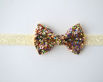 Multi Glitter TINY Bow Ivory Headband Blessing Bow Photo Prop for Newborn Baby Little Girl Child Adult Spring Summer Headwrap