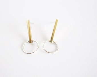 brass bar and sterling silver ring earring hook & line earring minimal mixed metal earring