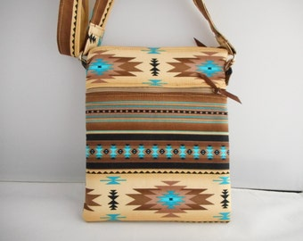 Southwest Aztec Crossbody cell phone and two zipper purse that holds all essentials.