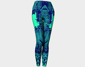 Circuit Board Leggings (Blue/Aqua)