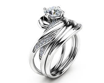 Unique Moissanite Wedding Ring Set in 14K White Gold Moissanite Engagement Rings Vintage Wedding Set