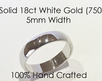 18ct 750 Solid White Gold Ring Wedding Engagement Friendship Friend Half Round Band NEW 5mm