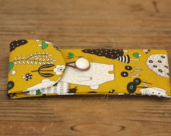 Clever Coffee Sachet Wallet: Mustard Woodland Print Fabric (doubles as a soft glasses case)