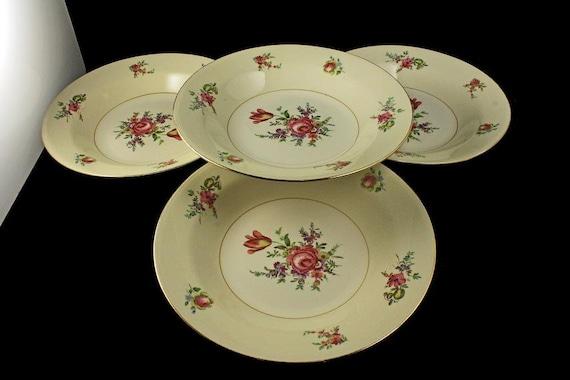 Soup Bowl, Household Institute, Priscilla Pattern, Set of 4, Homer Laughlin, Rose Pattern, Gold Trim